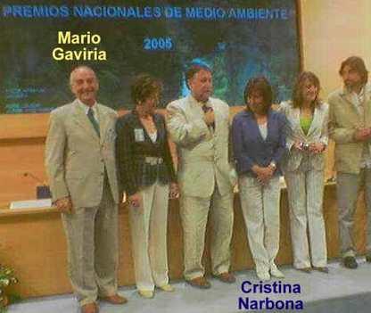 En la entrega del Premio Nacional de Medio Ambiente a Gaviria